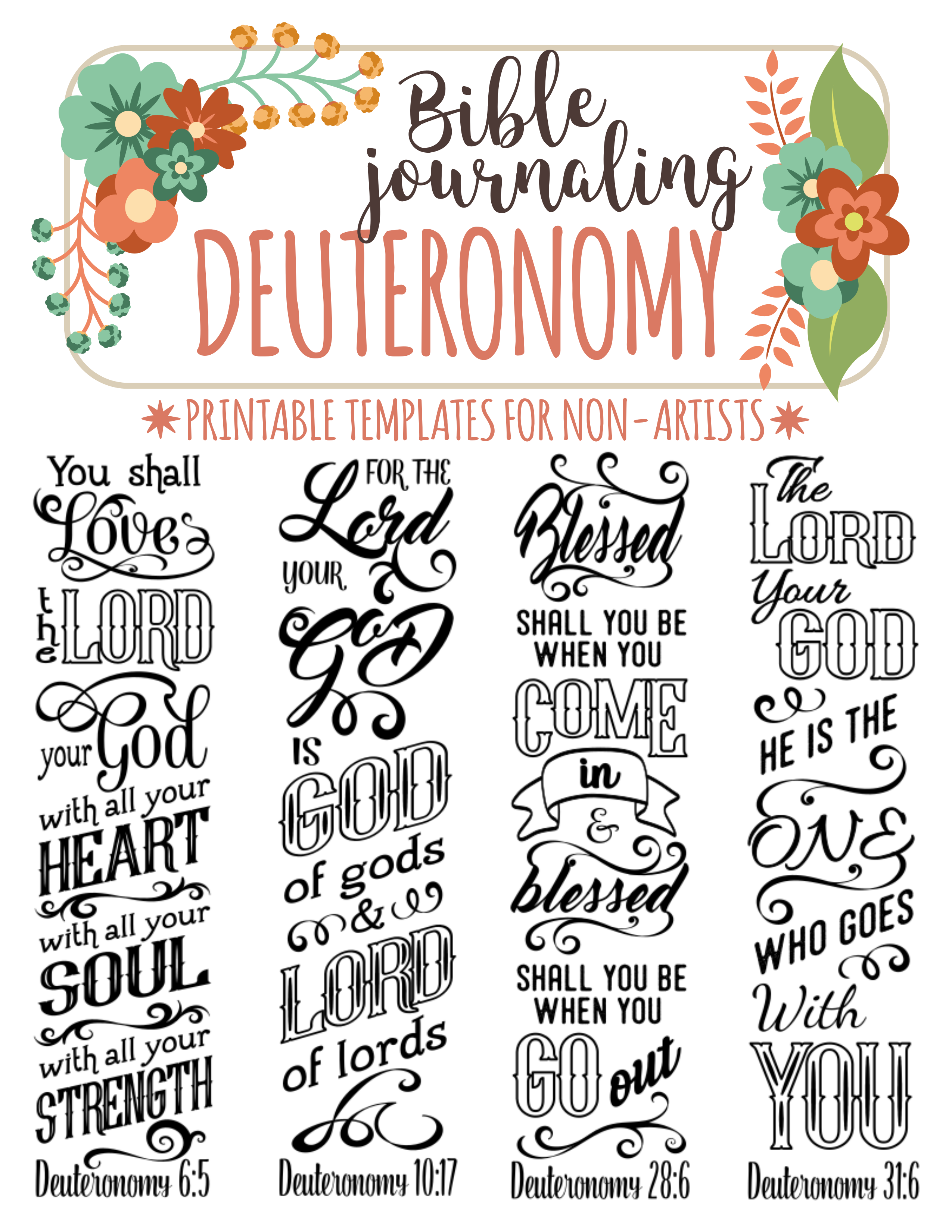 DEUTERONOMY Printable Bible Journaling Templates For Non Artists Just PRINT TRACE