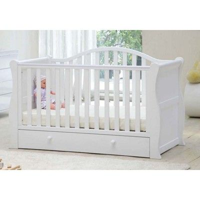 I love this cotbed.. wish i had a baby girl cos this would be PERFECT!!! BRB | Oslo White Sleigh Cotbed | Eurobaby - Irelands No.1 Baby Shop