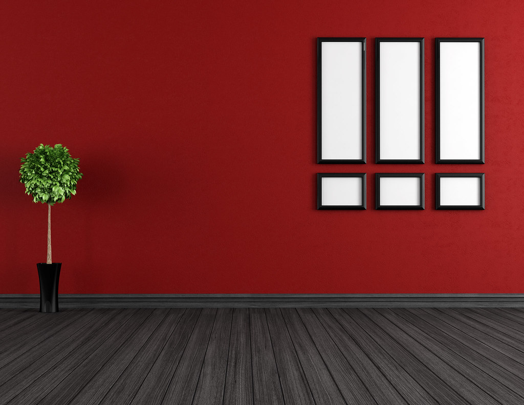Empty Red And Black Room Red Walls Grey Walls Living Room Grey Flooring
