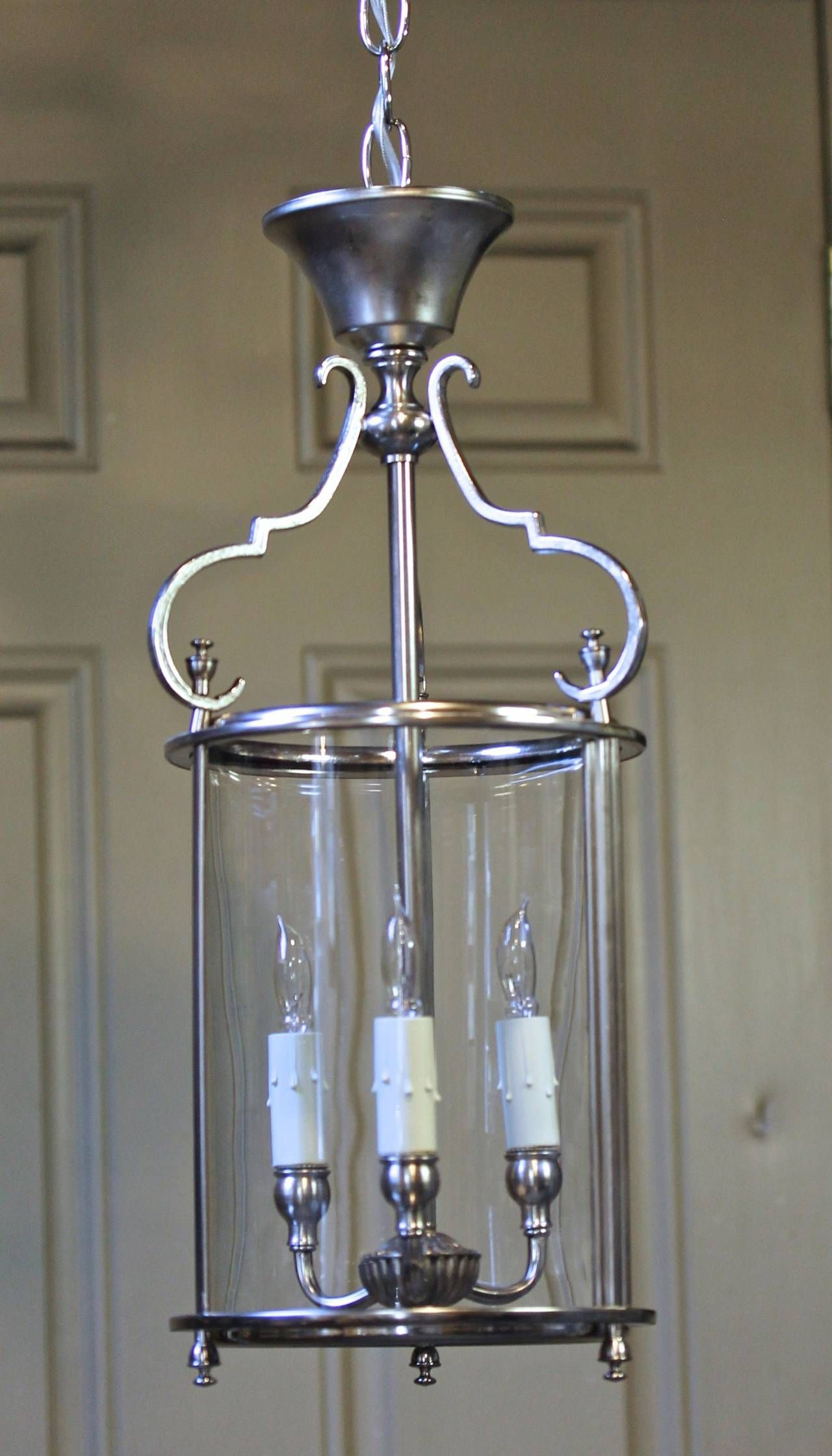 Italian neoclassic silver plate hall lantern pendant light lantern