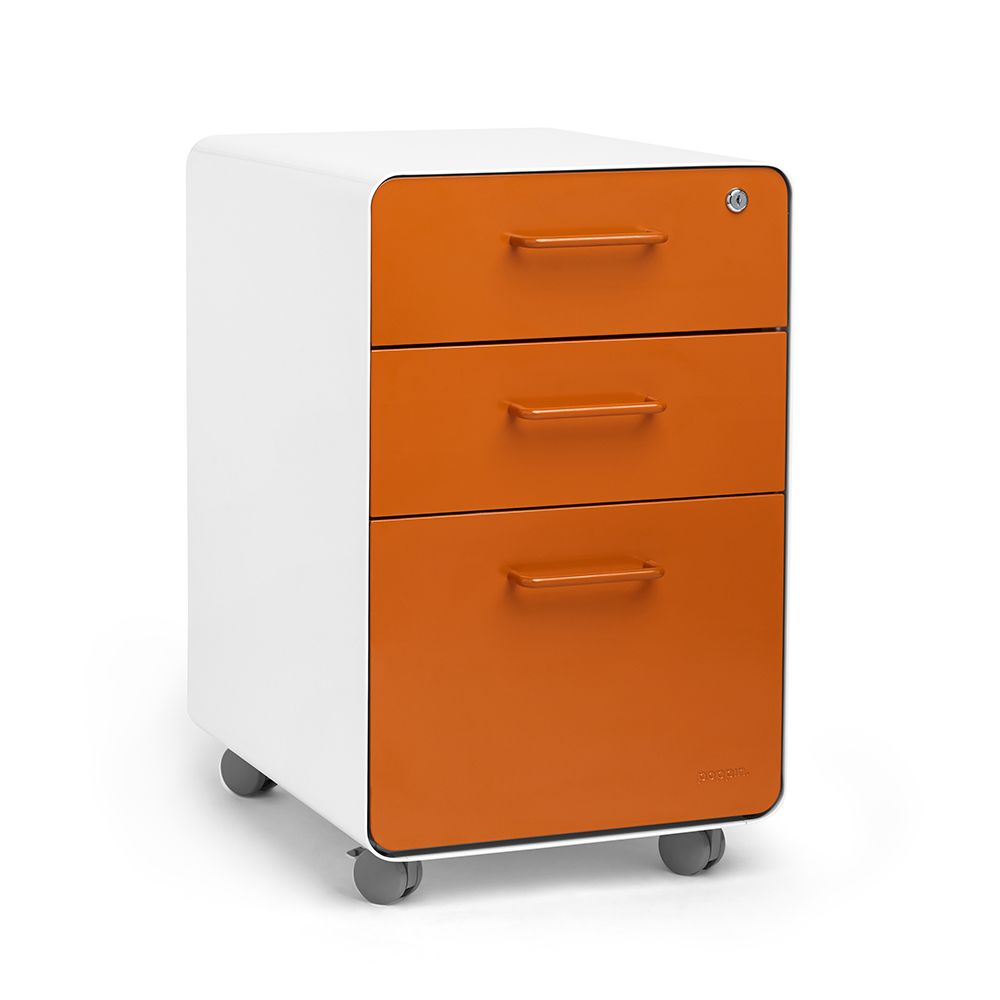 Bisley Two Drawer Steel Home Filing Cabinet Orange File2: White + Orange Stow 3-Drawer File Cabinet, Rolling, Fully