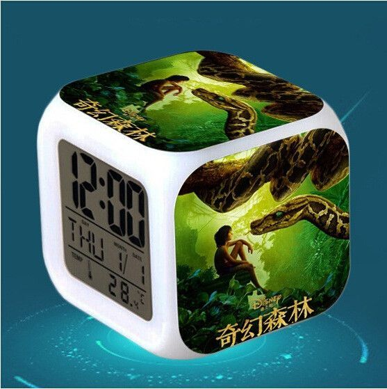 Hot Movie The Jungle Book Figure Toys Plastic Animal Wolf Toys Pokemon Alarm Clock LED Flash Light Up Toys for Child Gift