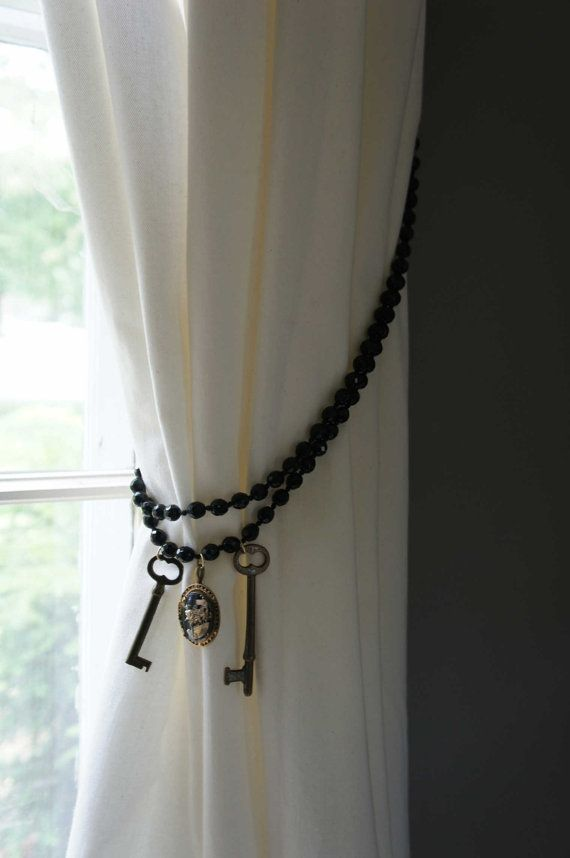 Black Curtain Tie Back Glass Bead Cameo By Upscaledownhome On Etsy