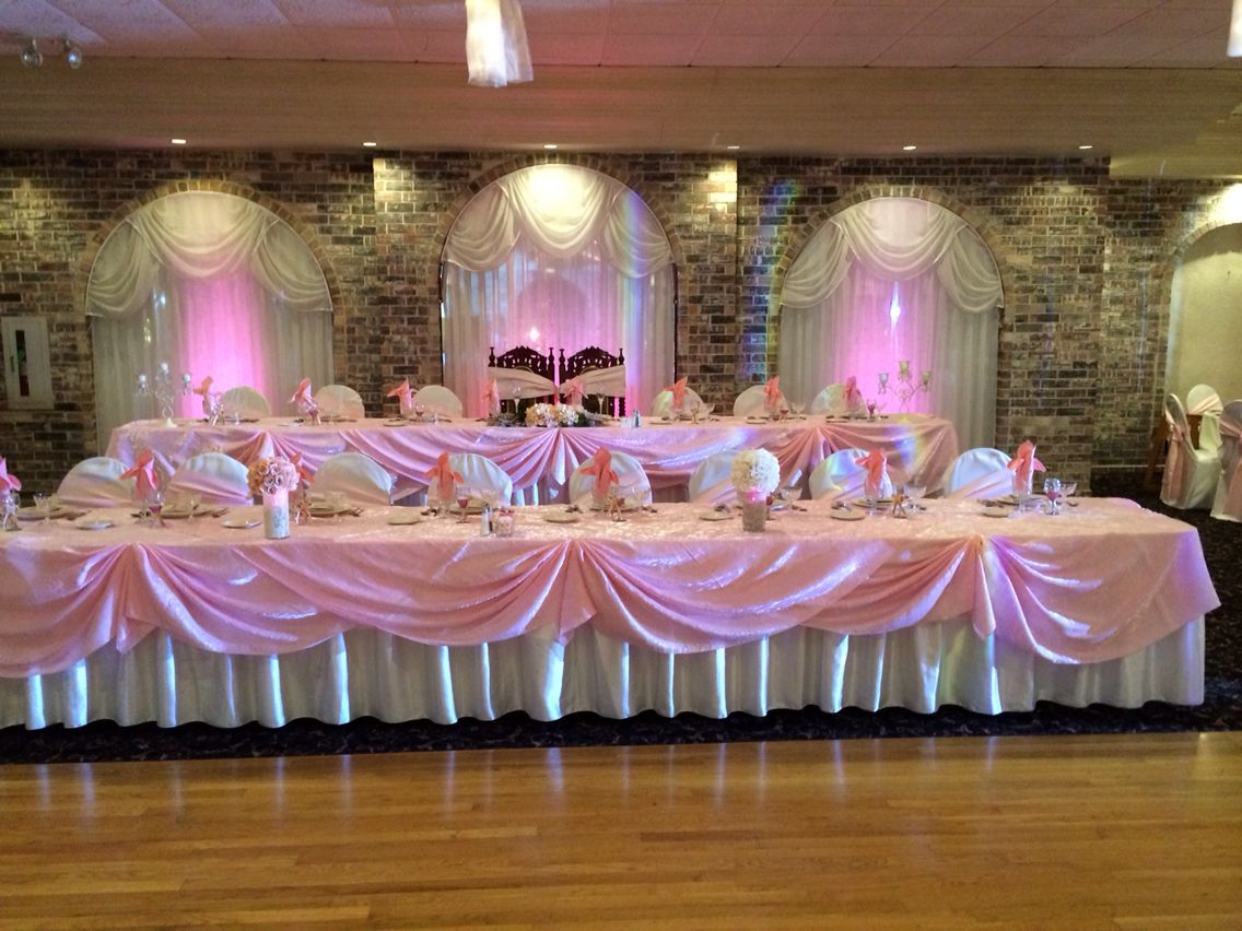 Quinceanera Hall Decorations Pink Head table vint...
