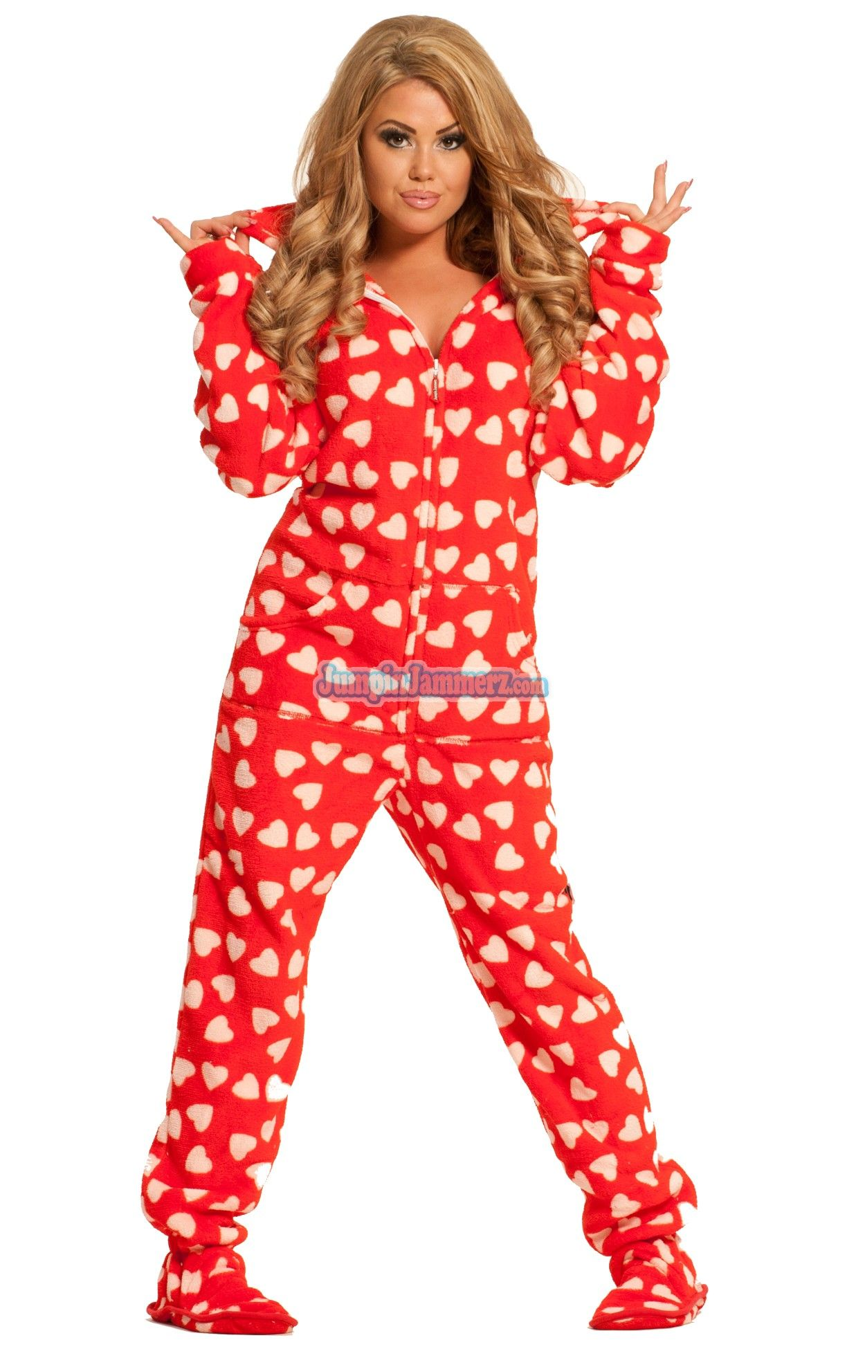 6b97ee9916bb Purchase Red Heart Breaker Hooded Adult Pajamas Online
