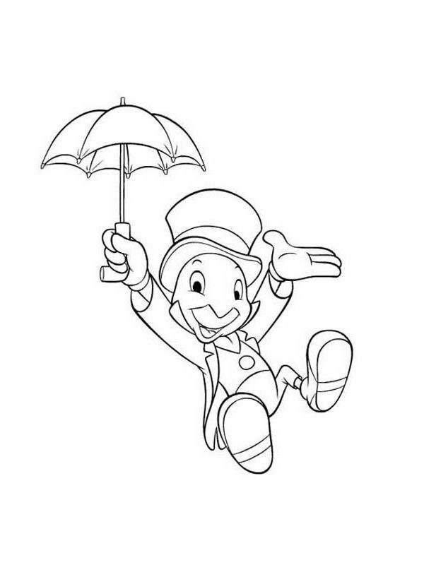 Jiminy Cricket Disney Coloring Pages Cartoon Coloring Pages