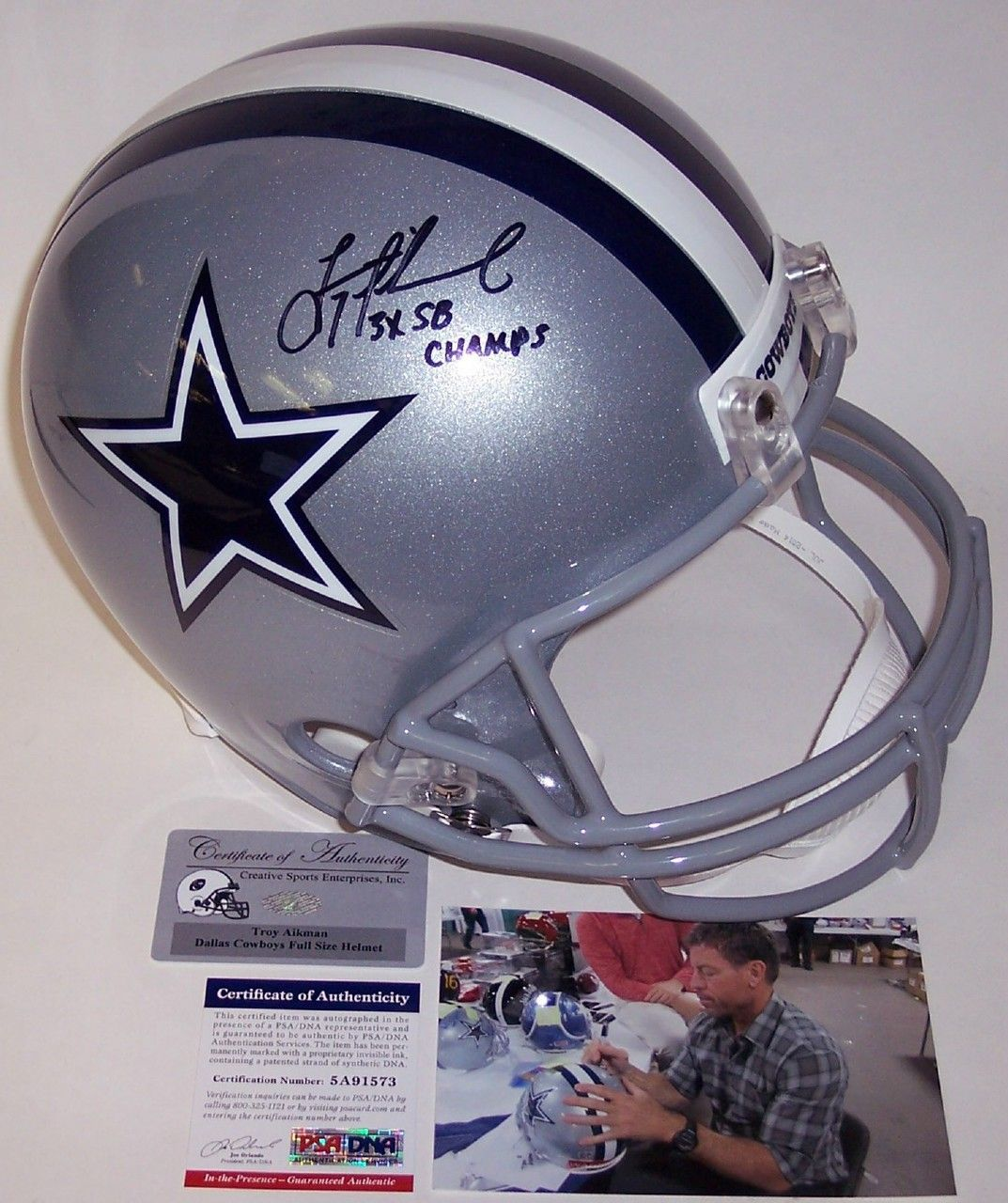 64b0a3c86 Troy Aikman Autographed Hand Signed Dallas Cowboys Full Size Helmet -  PSA DNA