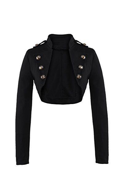 9895af22da4cf AO Vogue Boléro Style militaire à Manches longues Noir Taille S ...