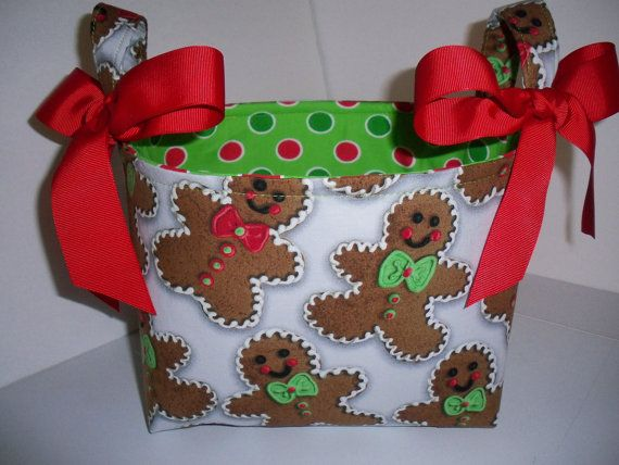Gingerbread Man Fabric Christmas Organizer Bin by BridgetsStitches