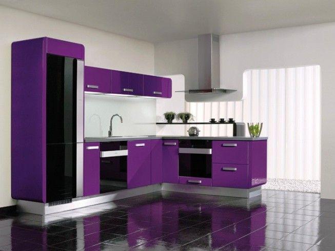 Kitchen Modern Design With Black Floor Purple Kitchens Decor Cupboard Colours Minimalist