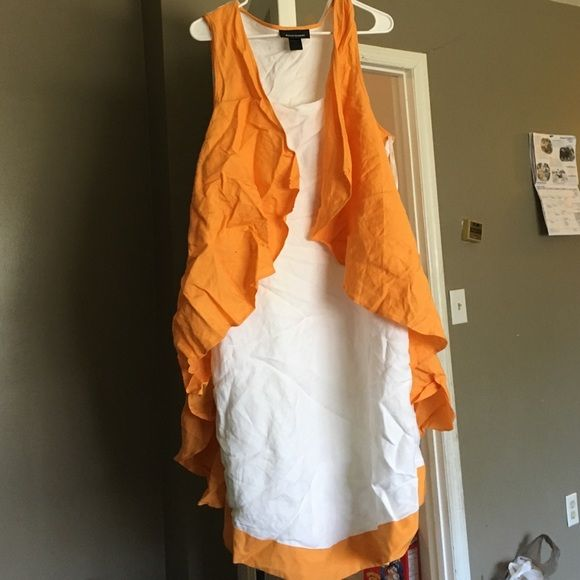 Brand new !! Linen dress plus size women's White linen &a dark yellow/orange trimming design ! Great for graduation wedding etc Ashley Stewart Dresses High Low