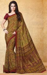 Mustard Yellow & Red Color Crepe Office Wear Sarees : Harshali Collection YF-32511