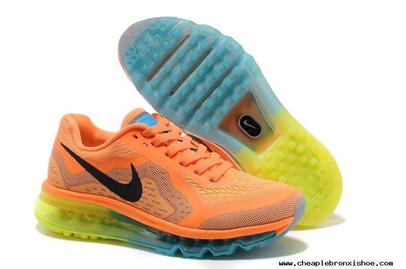 87c90abba8683 Womens Nike Air Max 2014 Orange Black Running Shoes Cheap