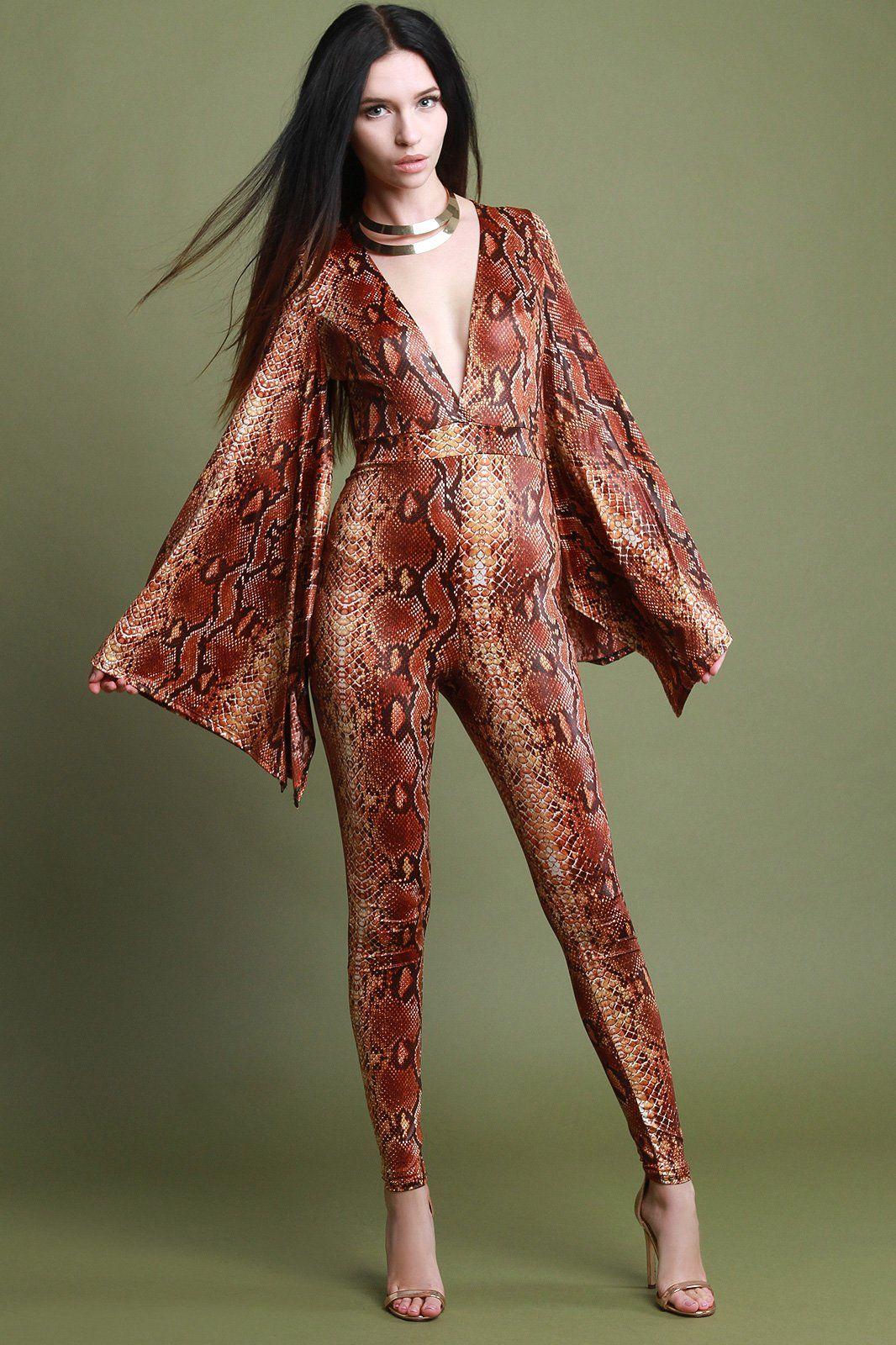 4ce5312c1c3 Python Print Long Kimono Sleeve Jumpsuit