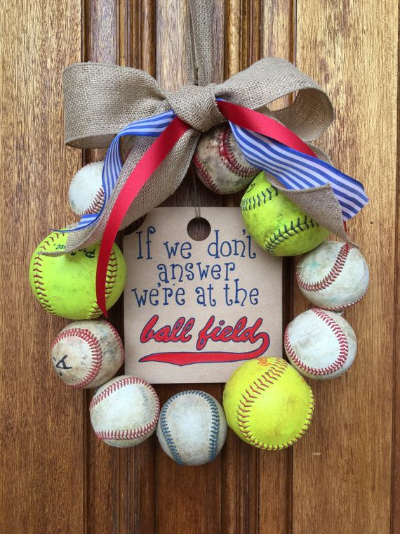 We Re At The Baseball Field Baseball Softball Wreath Blue Red