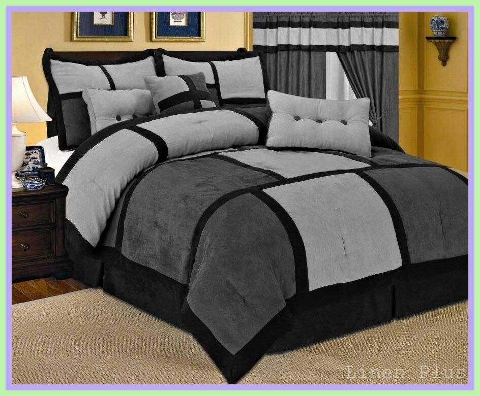 Luxury Bed Ensemble Monica 10 Pc Comforter Set Gray King New Free