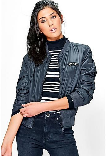 Niamh Embroidered Badge Bomber Jacket