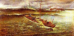 """""""Jesús y adentro"""" de Fernando Pérez del Camino (siglo XIX). Plegaria que decían los pescadores de Santander cuando había temporal, en el instante de pasar el Puntal al intentar ganar el puerto."""