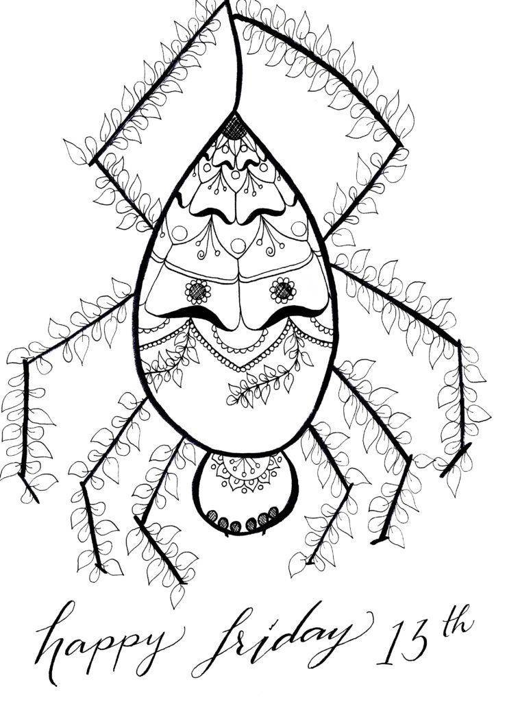 printable coloring page friday the 13th mandala spider