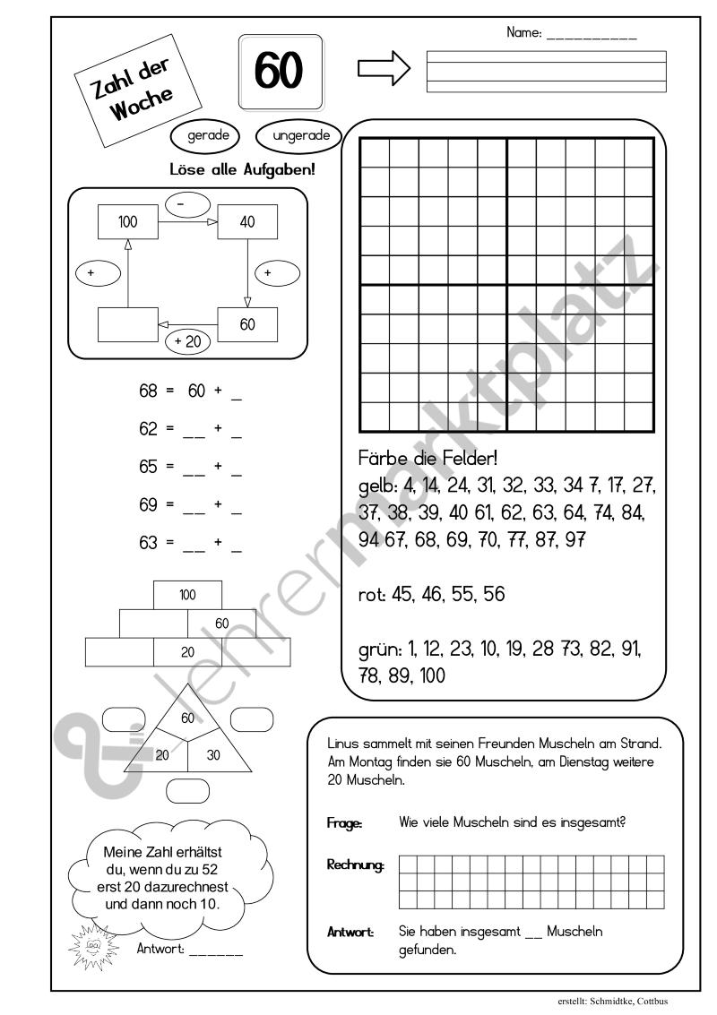 Zahl der Woche - Seite 1 | Grundschule Materialien | Pinterest