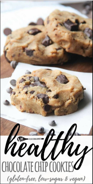 healthy chocolate chip cookies (gluten free, vegan, low sugar) #chocolatechipcookies