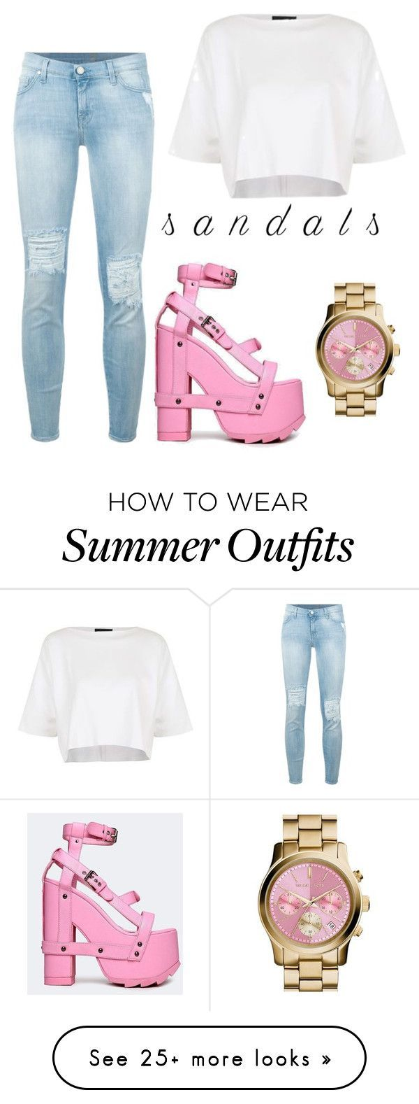 e59ff8797c0 Summer Outfits   Girly sandal outfit! by ali-stokes on Polyvore featuring 7  For All Mankind To
