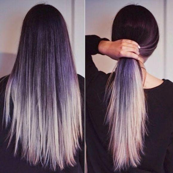 Silvergrey Ombr Hair Extensions Full Head Virgin Remy Human Hair