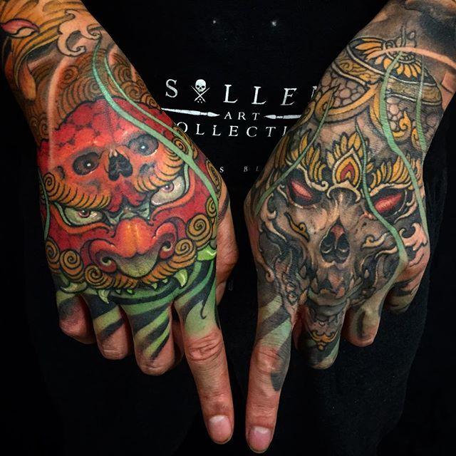 Foo Dog And Kapala Double Hand Tattoo Wt Tattoo Done Chronicink Workproud Wearproud Hand Tattoos Japanese Hand Tattoos Foo Dog Tattoo