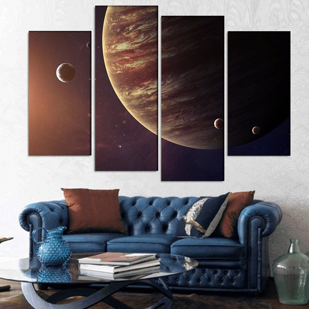 wall26 - Colorful Picture Represents Jupiter and Its Moons