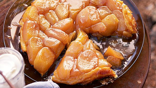 The apples can be cooked ahead of time and left in the pan, covered, in the fridge. The tarte tatin can be finished and transported in the pan if you're picnicking – simply reheat on the barbecue or fire before turning out and serving warm.