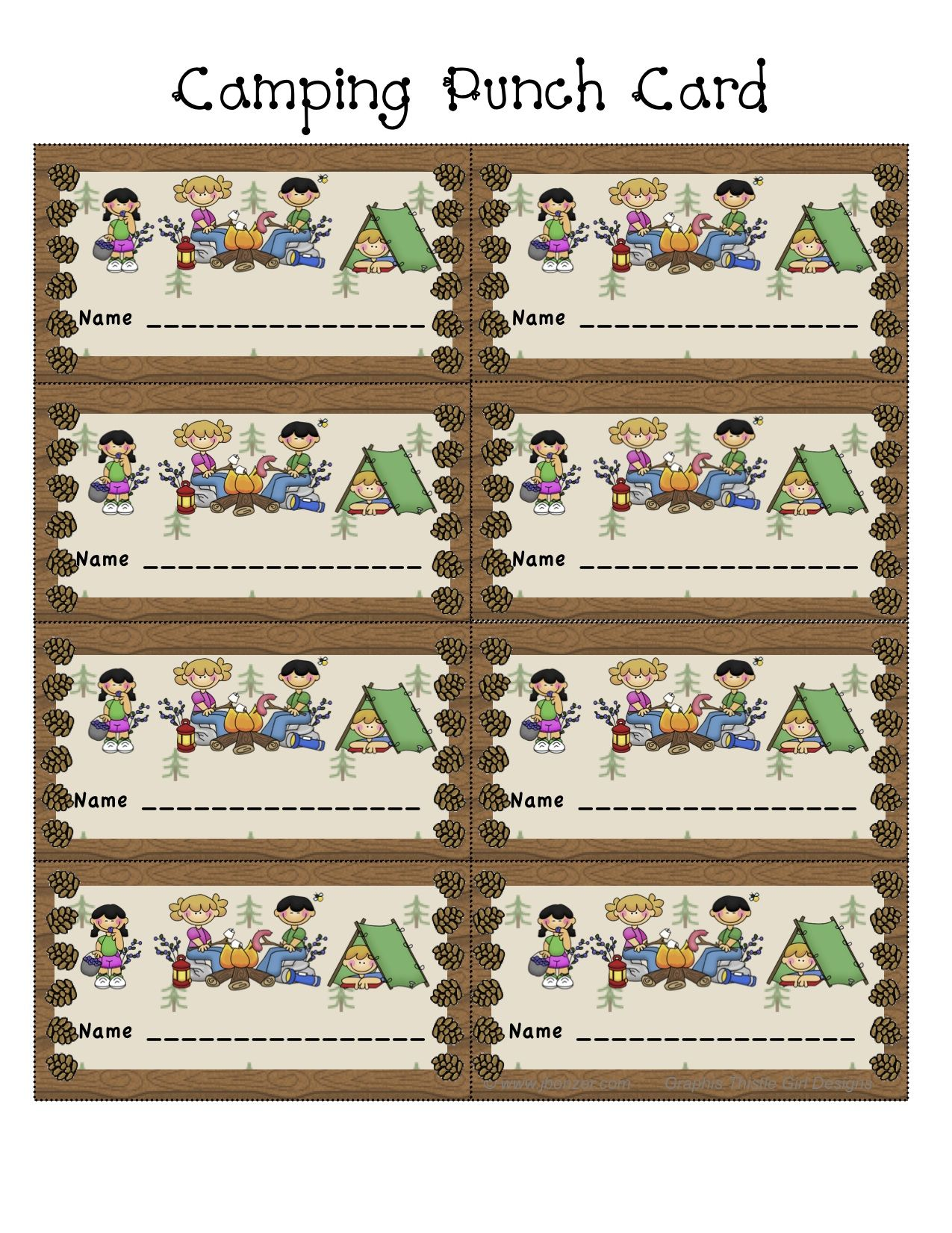 Ahh Camping Theme Punch Card What A Great Idea Many
