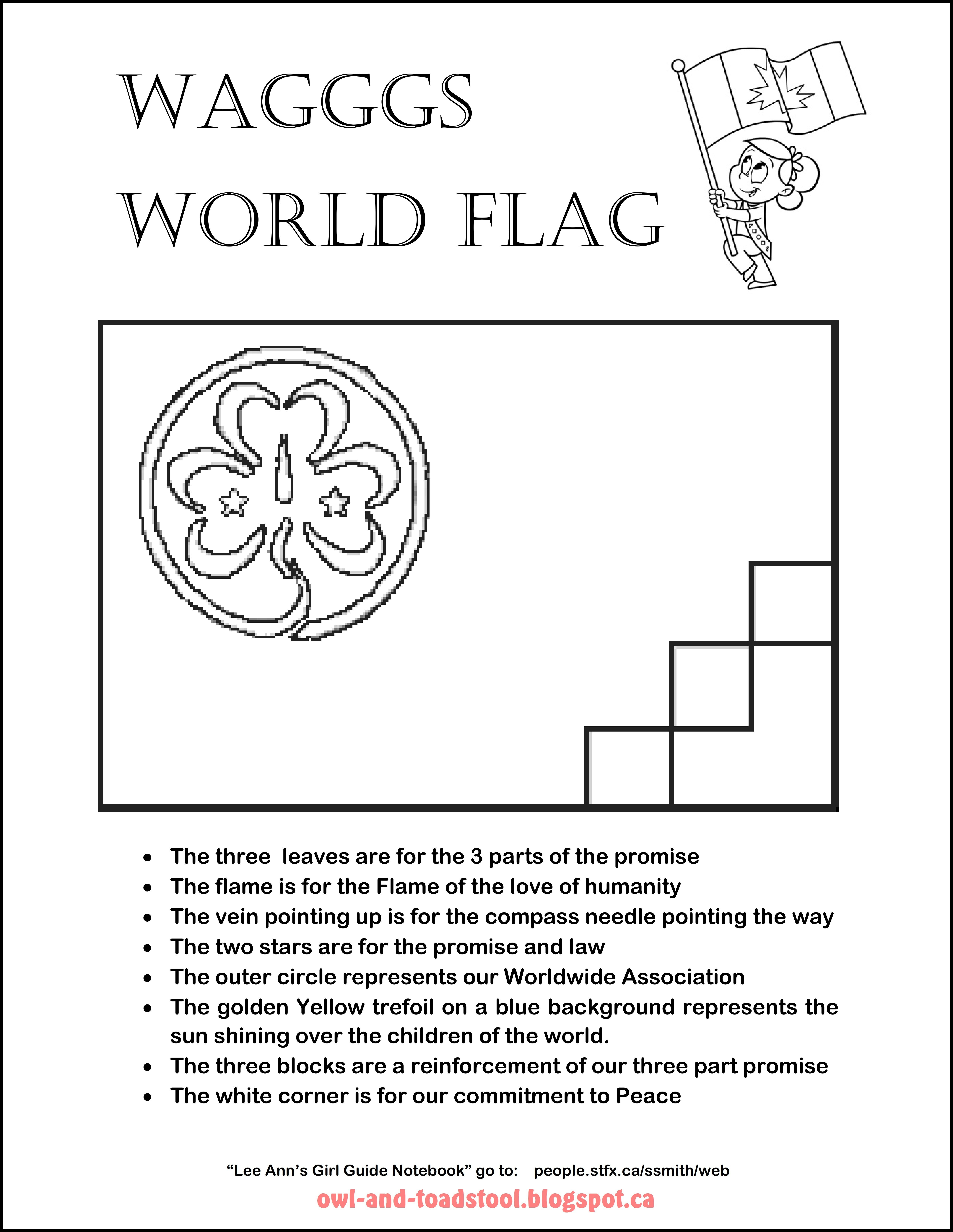 Wagggs World Flag Colouring Page Owl And Toadstool