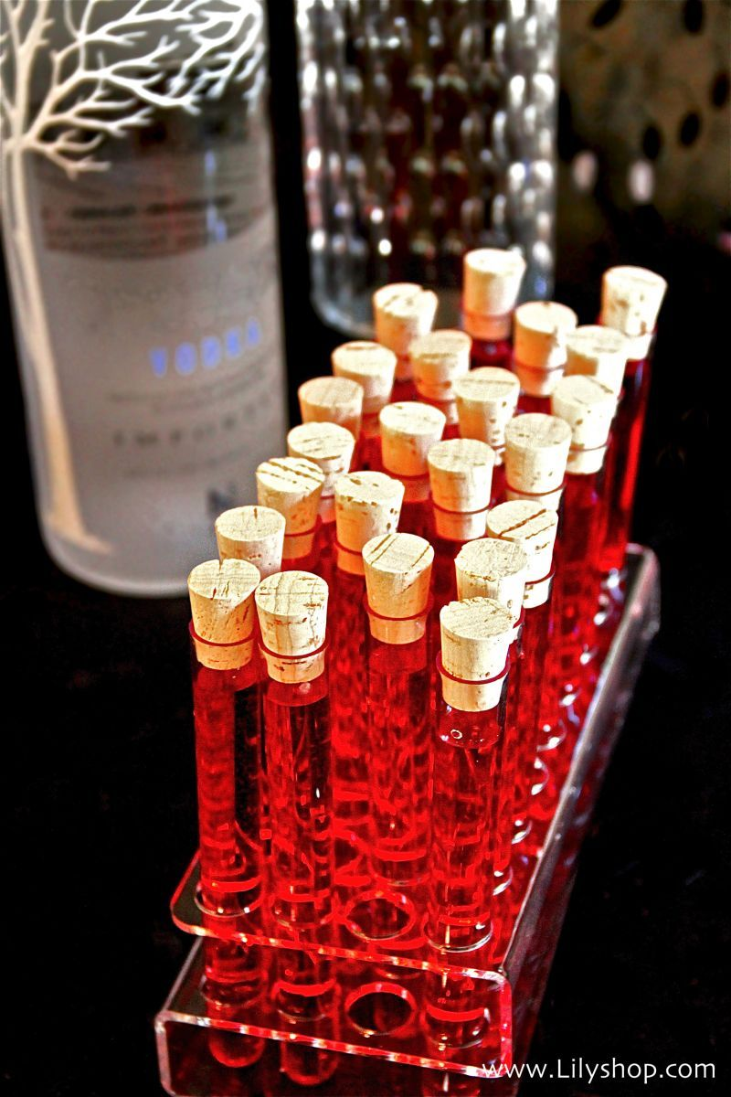 """Fun """"tubes of blood"""" vodka shots for Halloween! Just add"""