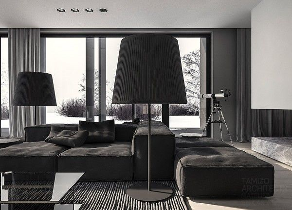 A Single Family Home Interior In Cool Shades Of Gray House Interior Dark Living Rooms Living Room Designs