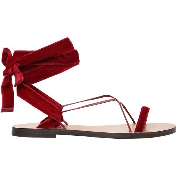 Valentino 10mm Velvet & Leather Lace Up Sandals Bordeaux Women