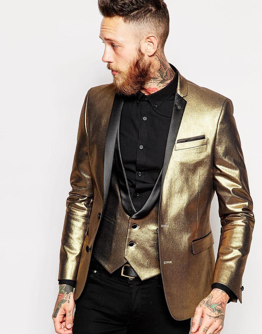 f490c3901 Pin by Adriana Mckenzi on Men's in 2019   Gold tuxedo jacket, Gold ...