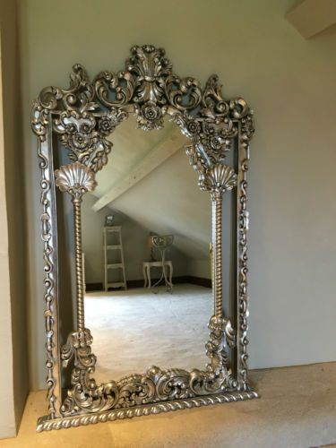 Hand Carved Mahogany Silver Leaf Rococo Ornate Large French Wall