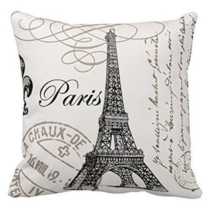 Onker Cotton Linen Square Decorative Throw Pillow Case Cushion Cover 18 x 18 Paris Eiffel Tower Stamp ** Details can be found by clicking on the image. (This is an Amazon Affiliate link and I receive a commission for the sales)