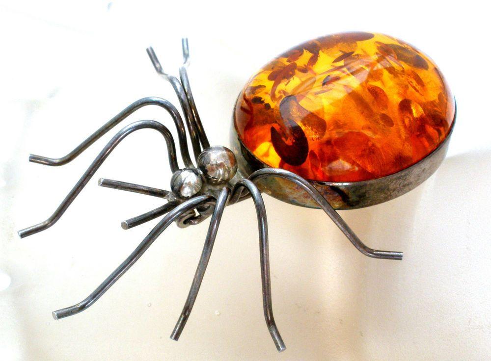 Sterling Silver Amber Spider Brooch Vintage Large Insect Figural Pin Natural #Unbranded #Figural