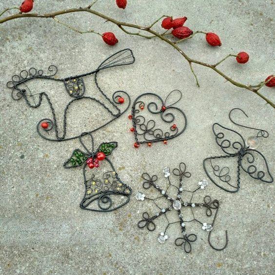 Original DIY Weihnachtsschmuck und Dekoration aus dünnem Draht #diychristmasornaments