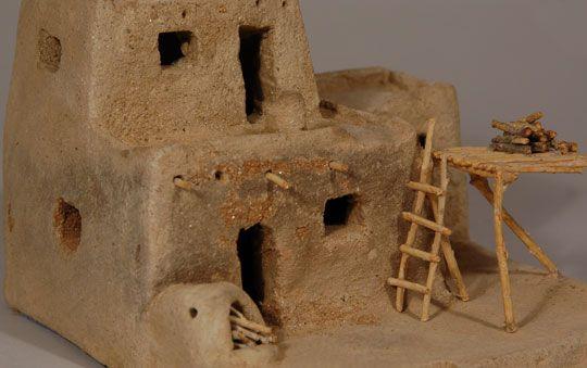 Taos Pueblo Micaceous Multi Storied House Southwest Indian Pottery Contemporary Zia Pueblo Adobe House Pueblo House Clay Houses