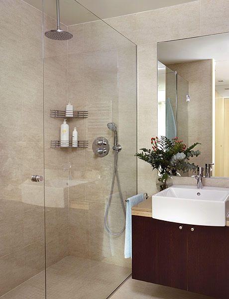 Dise o de ba o con ducha grande ba os y muebles for Muebles para banos grandes