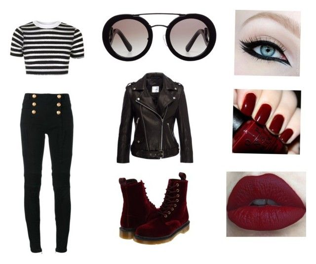 """""""Red Mime"""" by alivia-yates on Polyvore featuring Topshop, Balmain, Prada, OPI, Dr. Martens and Anine Bing"""