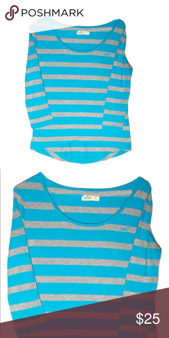 Hollister blue and gray striped long sleeve tee The colors are bright and beautiful! Size small Hollister Tops Tees - Long Sleeve