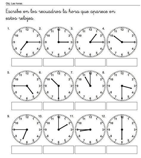 escribe las horas m s pulkstenis spanish classroom kindergarten math worksheets und 1st. Black Bedroom Furniture Sets. Home Design Ideas