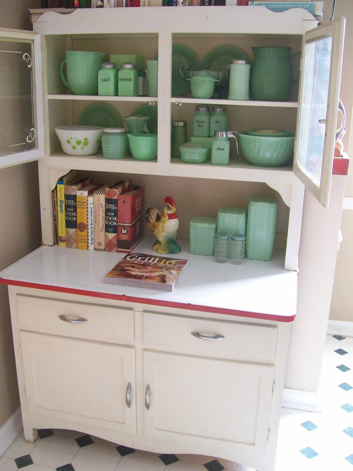 Vintage Kitchen Hutch 12 Inch Wide Cabinet Oh How I Love Jadite And This Was So Born In