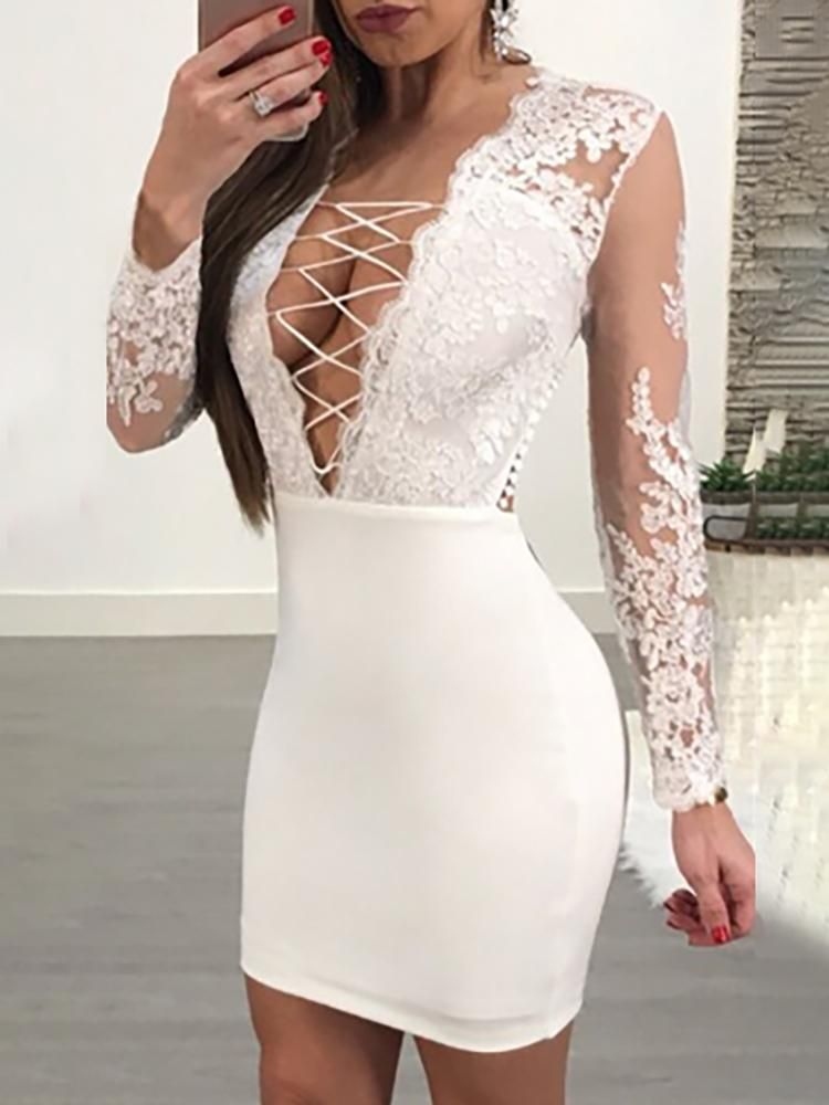 30c29e12d2d Halter Crochet Lace Bardot Sheath Dress