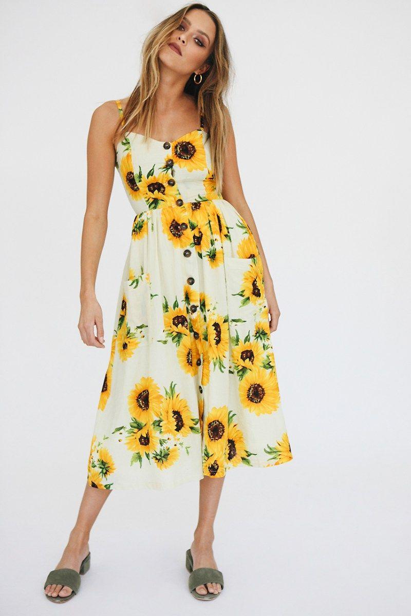 Sunflower Dress Summer Dresses For Women Midi Dress Summer Summer Dresses [ 1200 x 800 Pixel ]