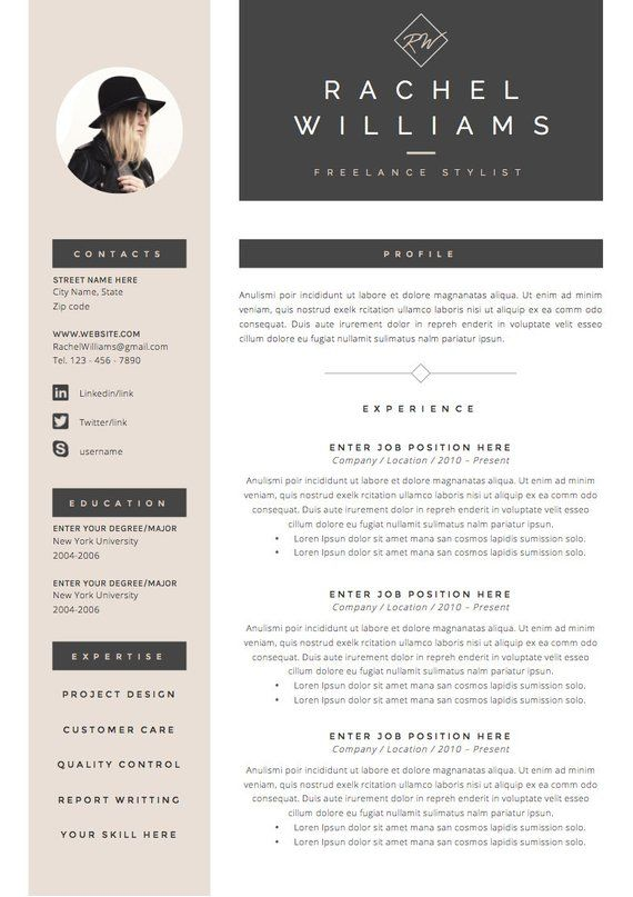4 page Resume / CV Template + Cover Letter for MS