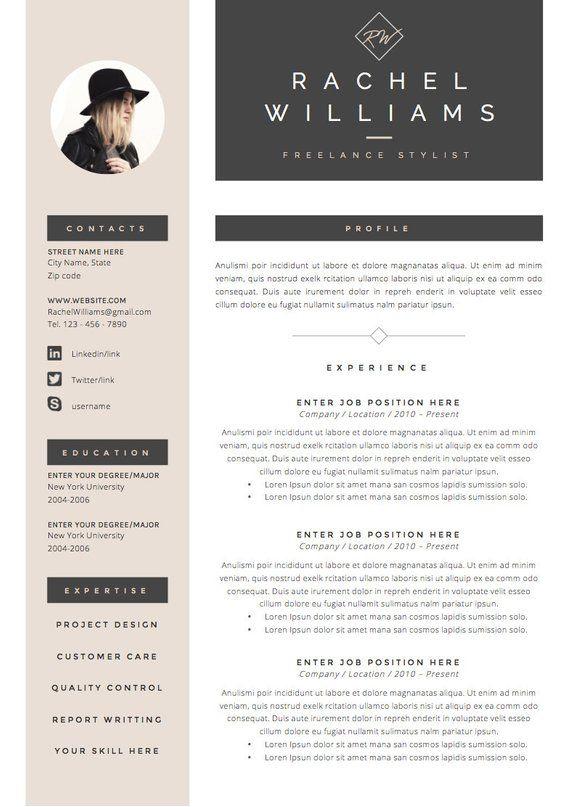 4 Pages Cv Cv Template Lettre De Motivation Pour Ms Word Etsy Infographic Resume Cv Template Resume Design